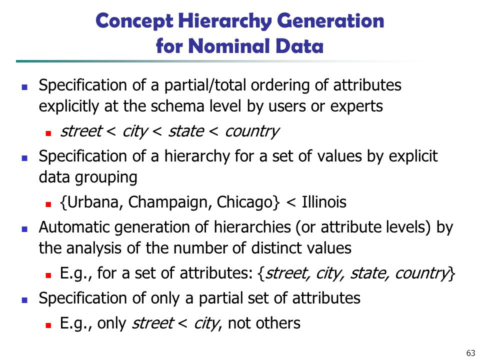63 Concept Hierarchy Generation for Nominal Data Specification of a partial/total ordering of attributes explicitly at the schema level by users or experts street < city < state < country Specification of a hierarchy for a set of values by explicit data grouping {Urbana, Champaign, Chicago} < Illinois Automatic generation of hierarchies (or attribute levels) by the analysis of the number of distinct values E.g., for a set of attributes: {street, city, state, country} Specification of only a partial set of attributes E.g., only street < city, not others