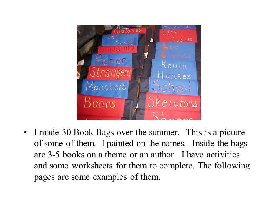 Book Bags to Take Home Mrs. J. Griffin. I made 30 Book Bags over ...