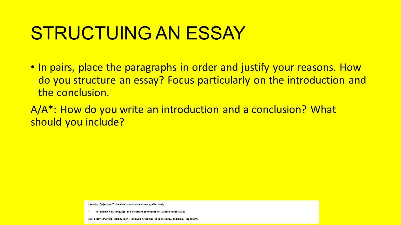 high school english essay structure