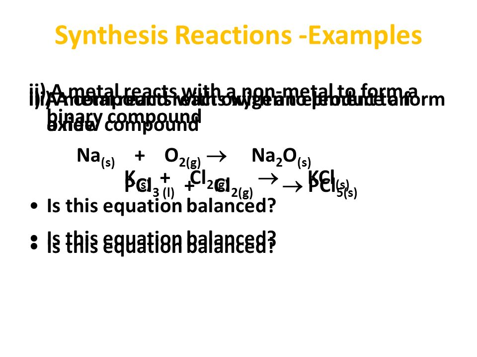an example of synthesis reaction Is the information in source b, for example the argument synthesis: the purpose of an argument synthesis is for you to present your own point of view.