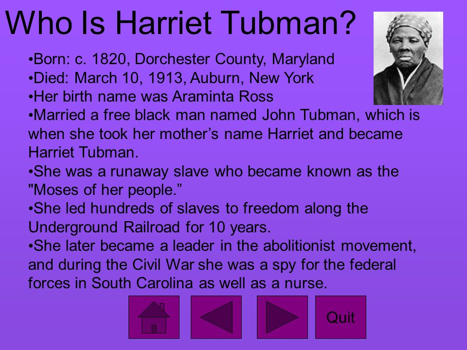 biography of harriet tubman essay Harriet tubman harriet tubman is known for helping slaves escape to freedom through the underground railroad she also volunteered to become a spy during the civil war.
