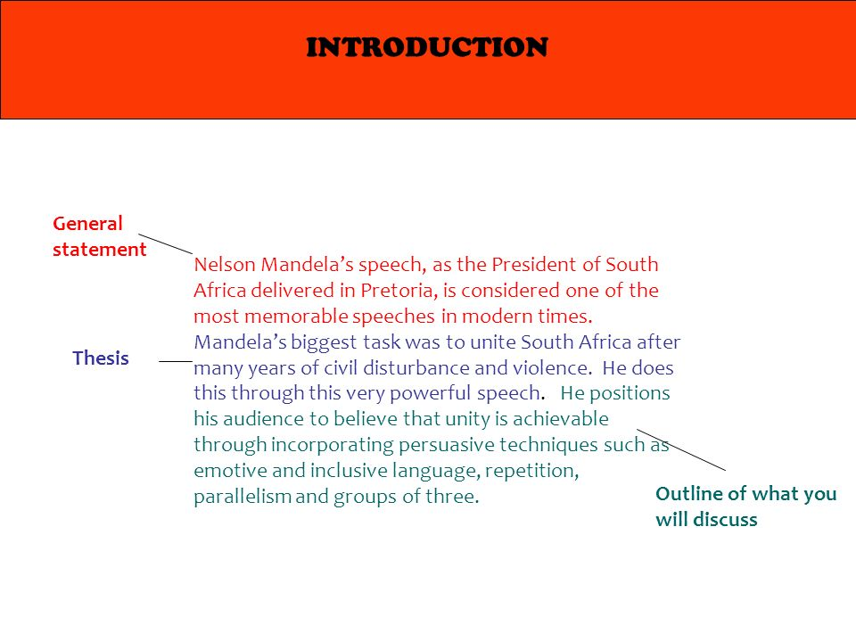 structure of an analytical essay introduction body conclusion  introduction nelson mandela s speech as the president of south africa delivered in pretoria is