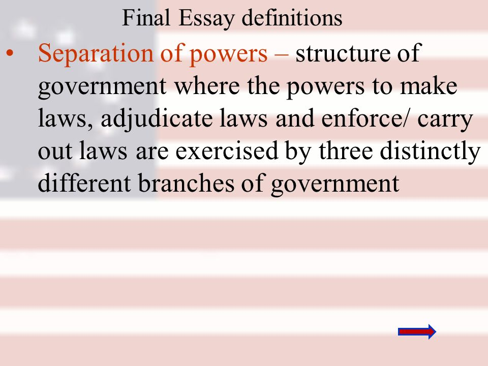 aps day agenda goal to understand that the constitution was  12 final essay definitions separation of powers structure of government where the powers to make laws adjudicate laws and enforce carry out laws are