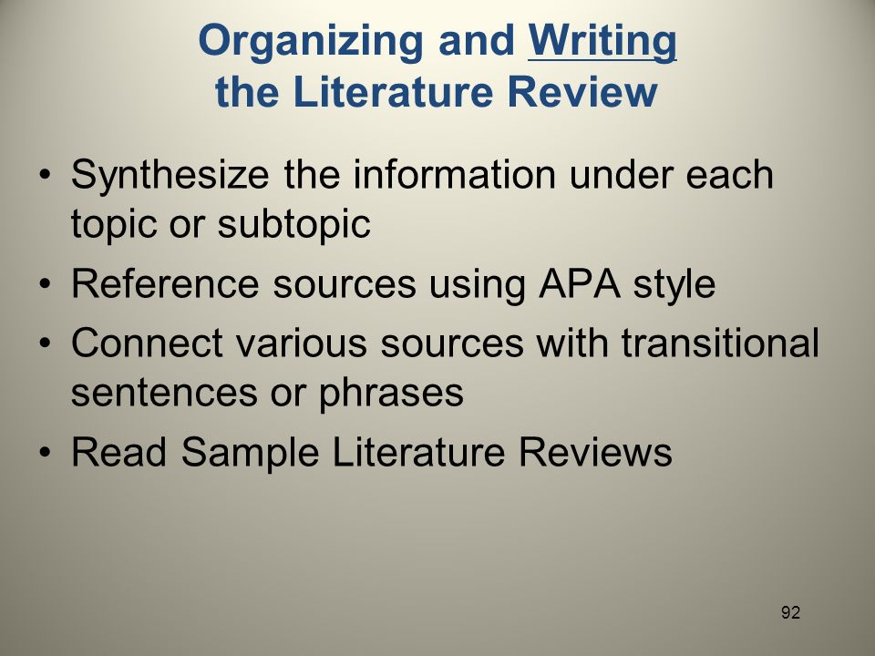 do literature review apa Comparing the annotated bibliography to the literature review formal citation style (usually apa, mla, or chicago) to cite a single source and includes a short.