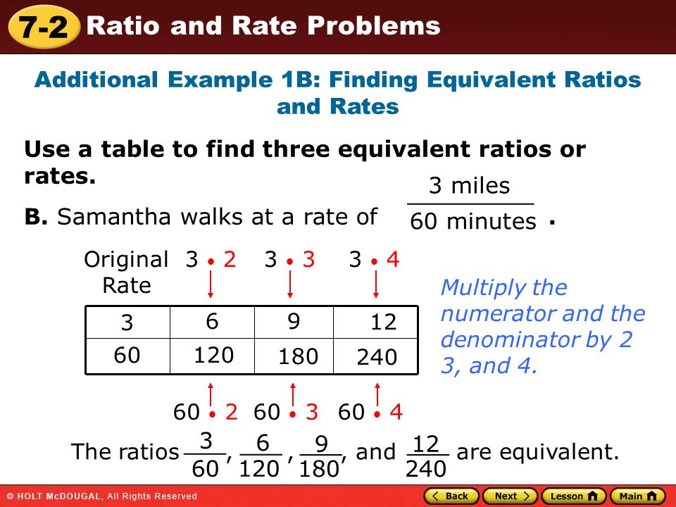 math worksheet : 7 2 ratio and rate problems warm up warm up lesson presentation  : Finding Equivalent Ratios