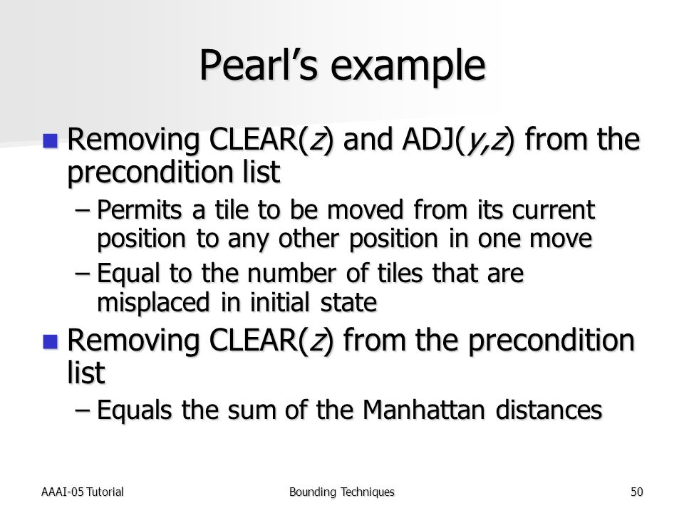 AAAI-05 TutorialBounding Techniques50 Pearl's example Removing CLEAR(z) and ADJ(y,z) from the precondition list Removing CLEAR(z) and ADJ(y,z) from the precondition list –Permits a tile to be moved from its current position to any other position in one move –Equal to the number of tiles that are misplaced in initial state Removing CLEAR(z) from the precondition list Removing CLEAR(z) from the precondition list –Equals the sum of the Manhattan distances