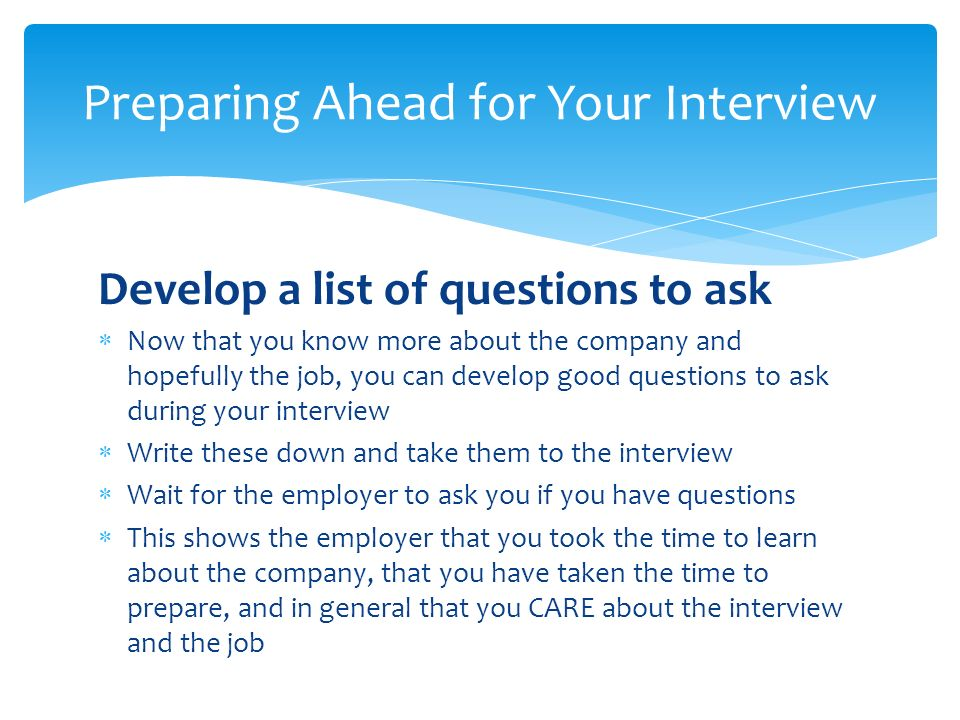 5 Develop A List Of Questions ...