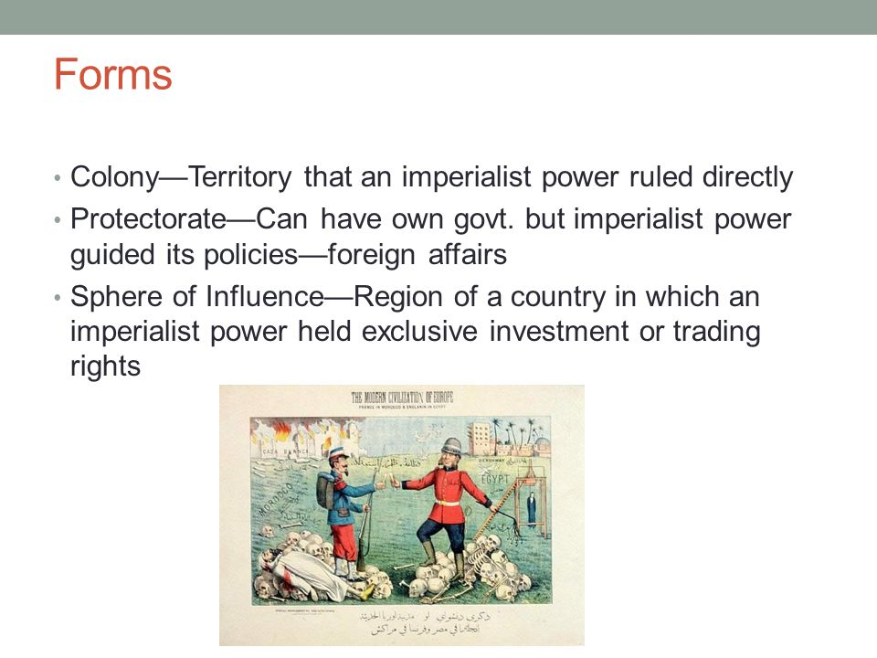 Forms Colony—Territory that an imperialist power ruled directly Protectorate—Can have own govt.