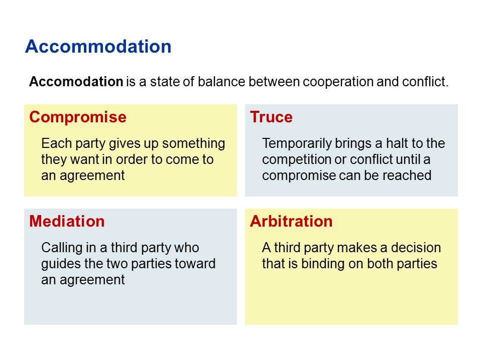Compromise Each party gives up something they want in order to come to an agreement Mediation Calling in a third party who guides the two parties towa