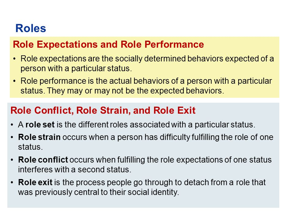 Role Conflict, Role Strain, and Role Exit A role set is the different roles associated with a particular status. Role strain occurs when a person has