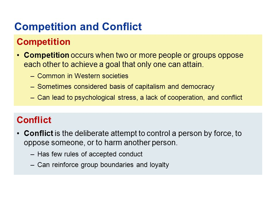 Conflict Conflict is the deliberate attempt to control a person by force, to oppose someone, or to harm another person. –Has few rules of accepted con