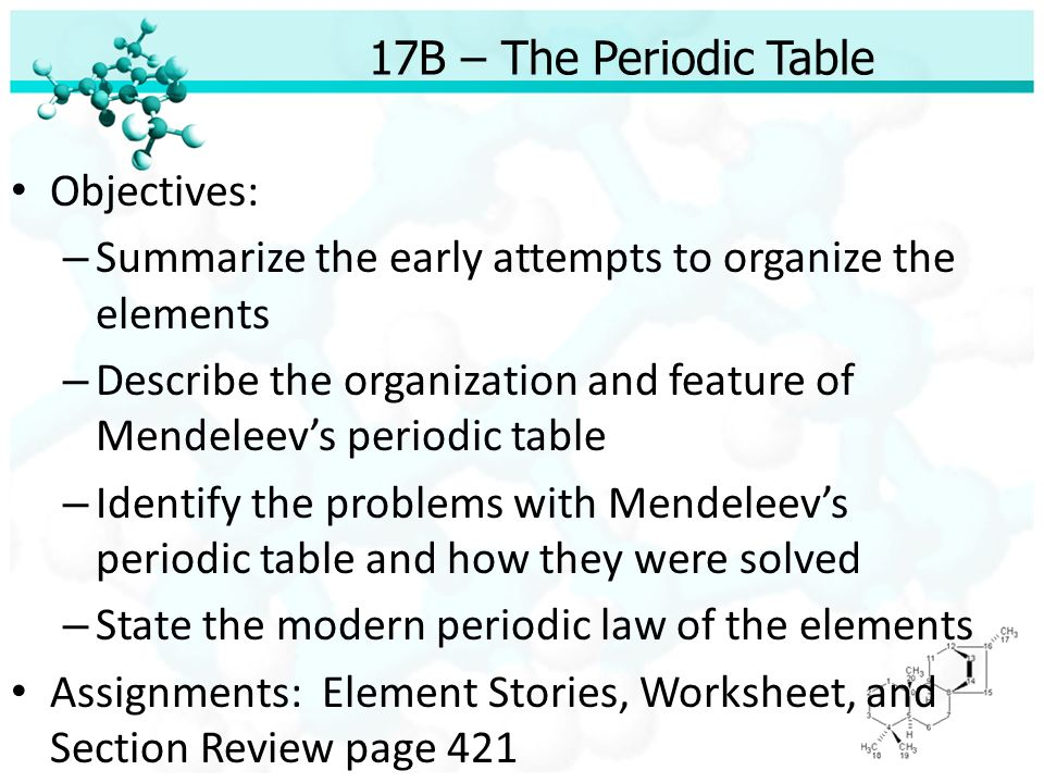 Unit 5 The Structure of Matter Chapter 17 The Elements and The – Periodic Law Worksheet