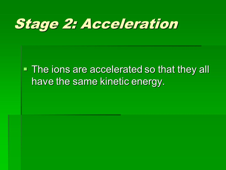 Stage 2: Acceleration  The ions are accelerated so that they all have the same kinetic energy.
