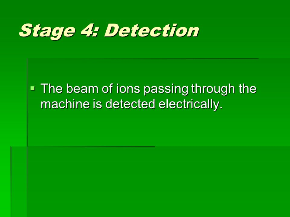 Stage 4: Detection  The beam of ions passing through the machine is detected electrically.