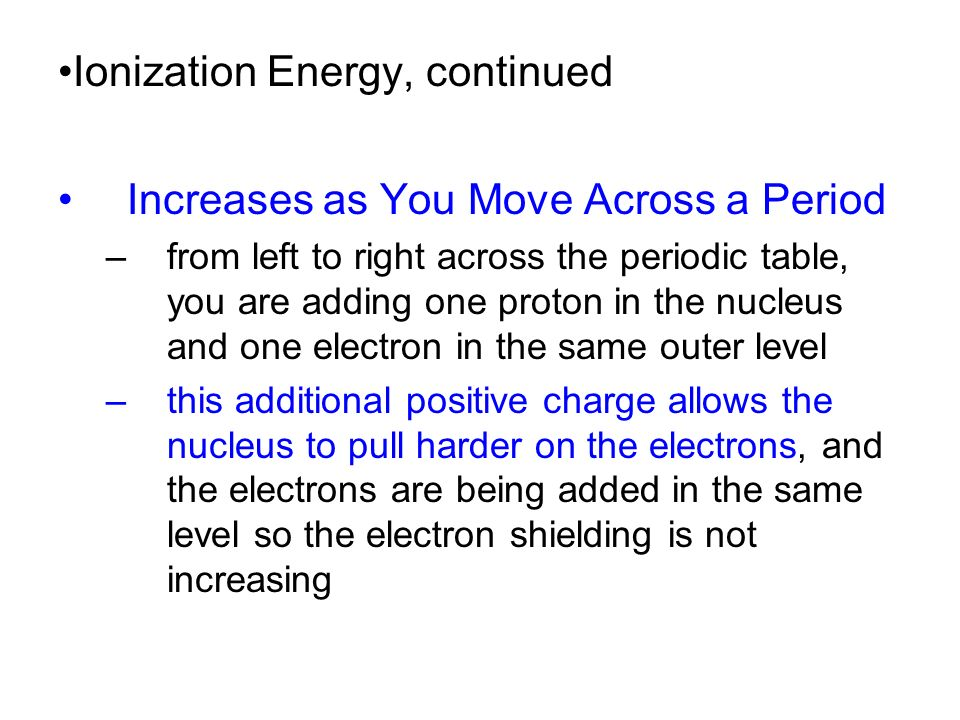 27 increases - Periodic Table As Level