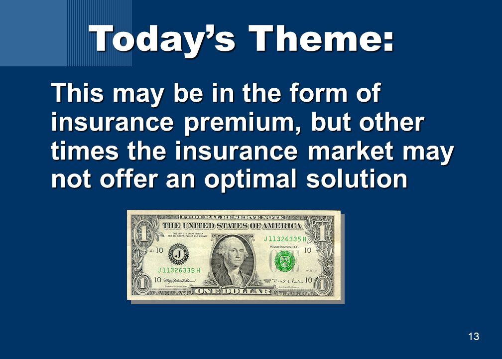 13 This may be in the form of insurance premium, but other times the insurance market may not offer an optimal solution Today's Theme: