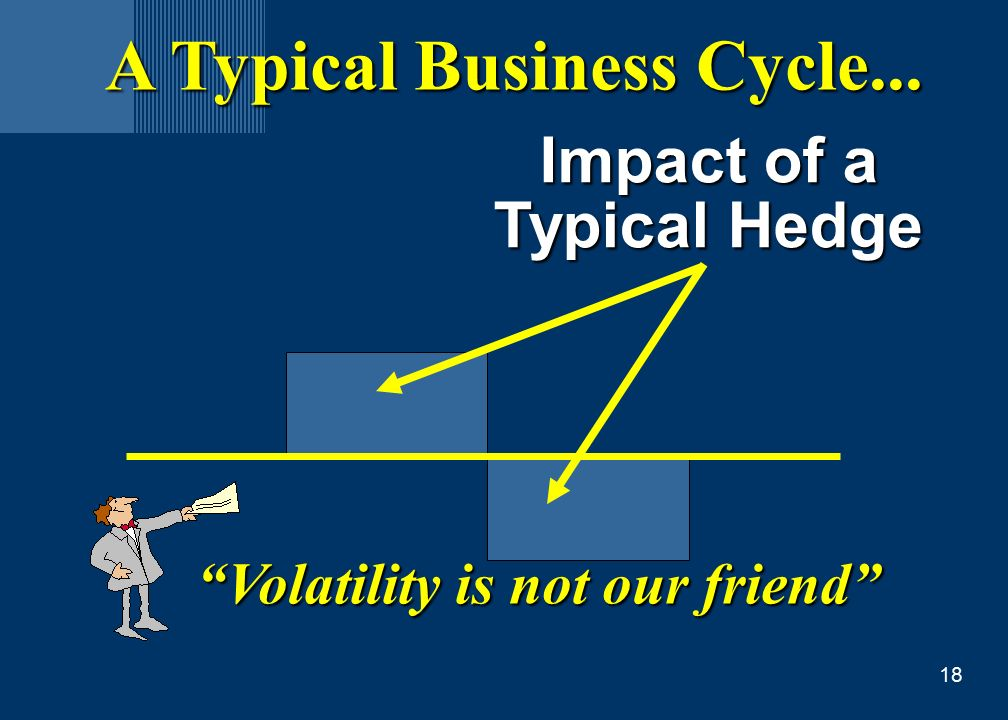 18 A Typical Business Cycle... Impact of a Typical Hedge Volatility is not our friend