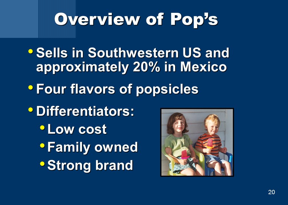 20 Overview of Pop's Sells in Southwestern US and approximately 20% in Mexico Sells in Southwestern US and approximately 20% in Mexico Four flavors of popsicles Four flavors of popsicles Differentiators: Differentiators: Low cost Low cost Family owned Family owned Strong brand Strong brand