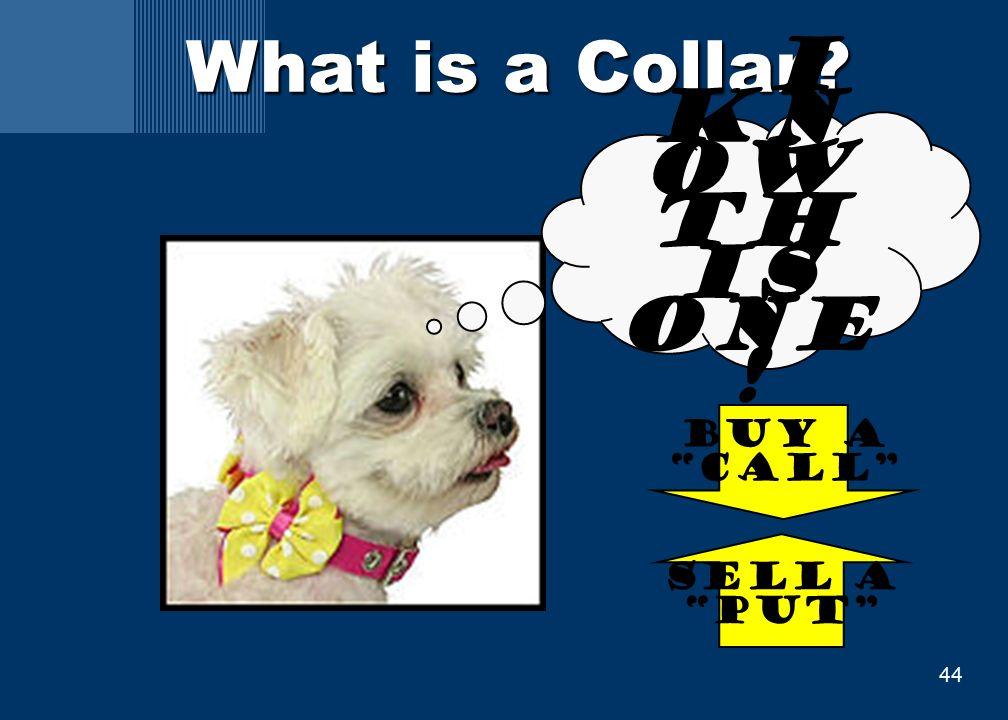 44 What is a Collar I kn ow th is one ! Buy a call Sell a put