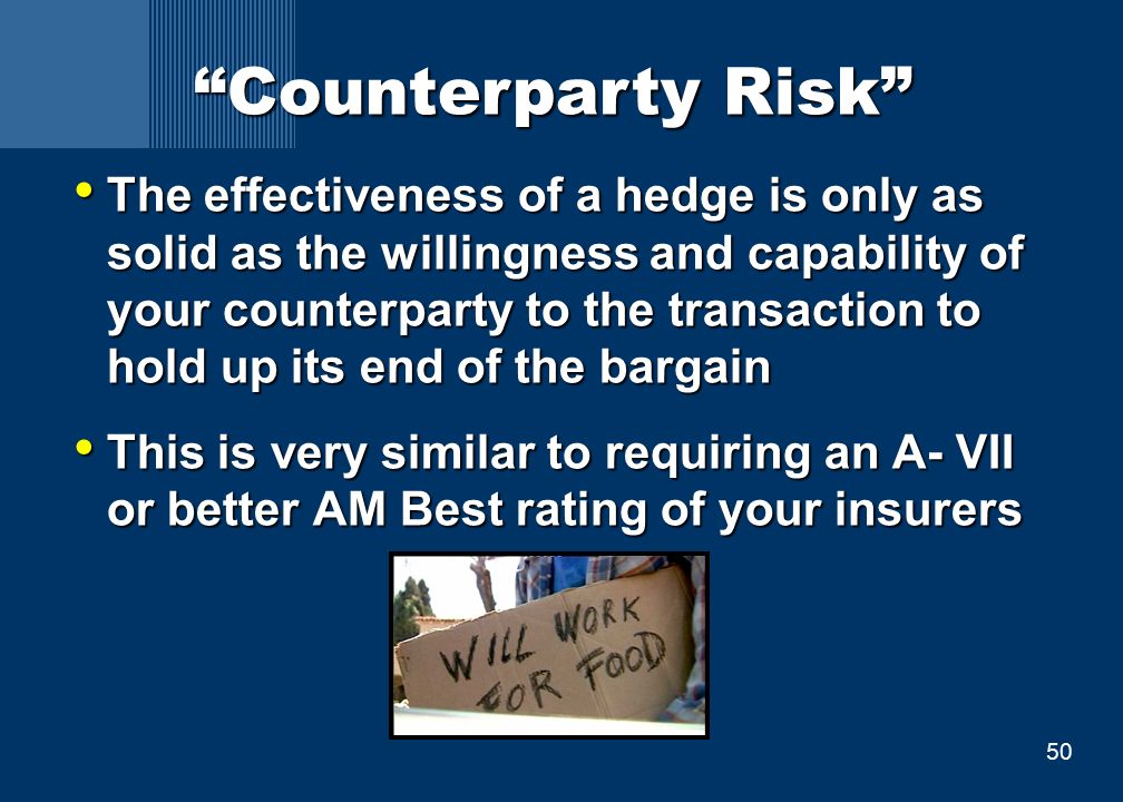 50 Counterparty Risk The effectiveness of a hedge is only as solid as the willingness and capability of your counterparty to the transaction to hold up its end of the bargain The effectiveness of a hedge is only as solid as the willingness and capability of your counterparty to the transaction to hold up its end of the bargain This is very similar to requiring an A- VII or better AM Best rating of your insurers This is very similar to requiring an A- VII or better AM Best rating of your insurers