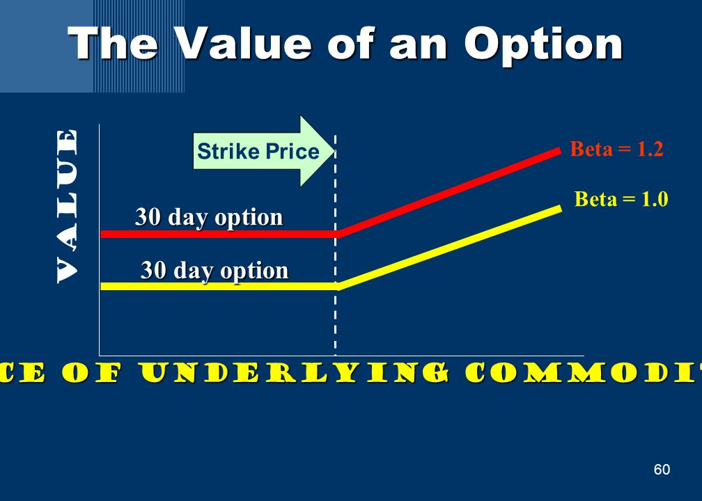 60 The Value of an Option Price of underlying commodity Value Beta = 1.0 Beta = 1.2 30 day option Strike Price