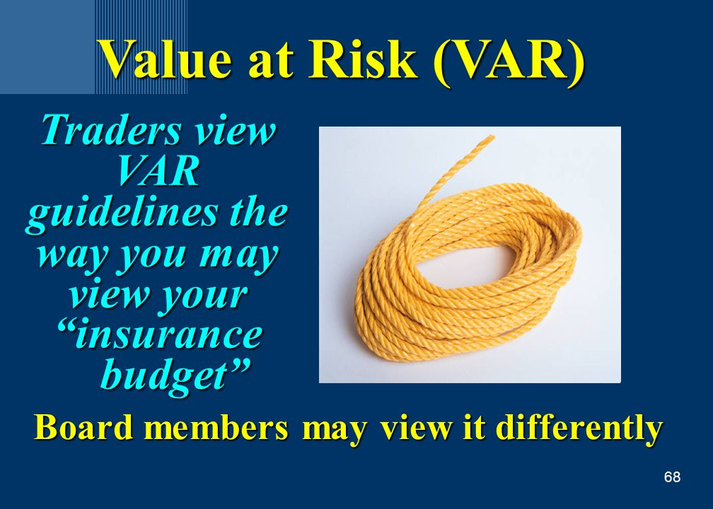 68 Value at Risk (VAR) Traders view VAR guidelines the way you may view your insurance budget budget Board members may view it differently