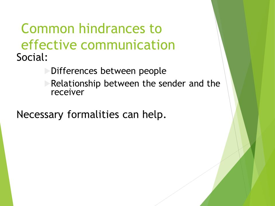 Common hindrances to effective communication Social:  Differences between people  Relationship between the sender and the receiver Necessary formalities can help.