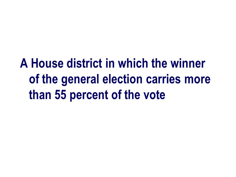 A House district in which the winner of the general election carries more than 55 percent of the vote