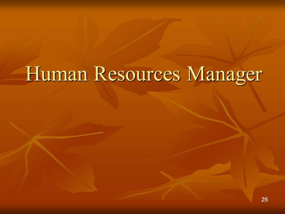 Human Resources Manager 25