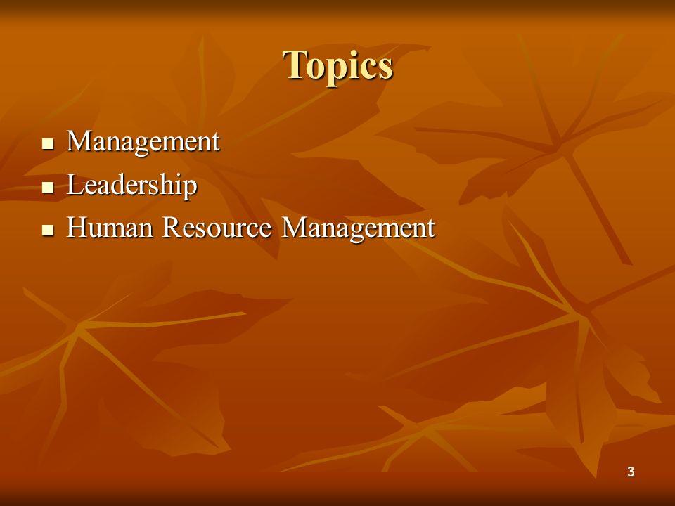Topics Management Management Leadership Leadership Human Resource Management Human Resource Management 3