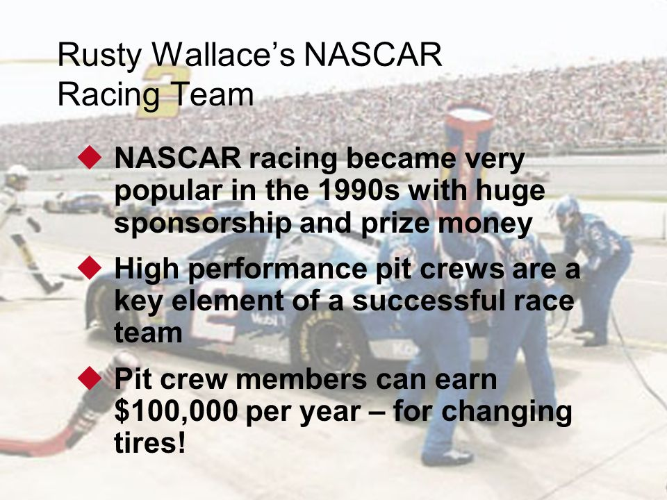 1 - 2 © 2011 Pearson Education, Inc. publishing as Prentice Hall Rusty Wallace's NASCAR Racing Team  NASCAR racing became very popular in the 1990s w