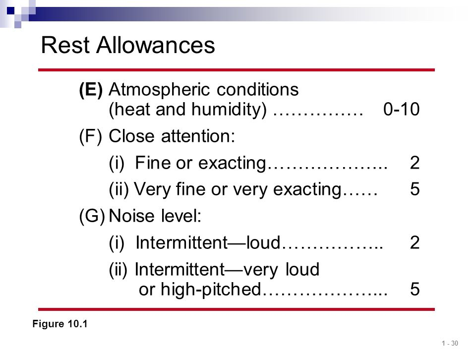 1 - 30 Rest Allowances Figure 10.1 (E)Atmospheric conditions (heat and humidity) ……………0-10 (F)Close attention: (i) Fine or exacting………………..2 (ii) Very