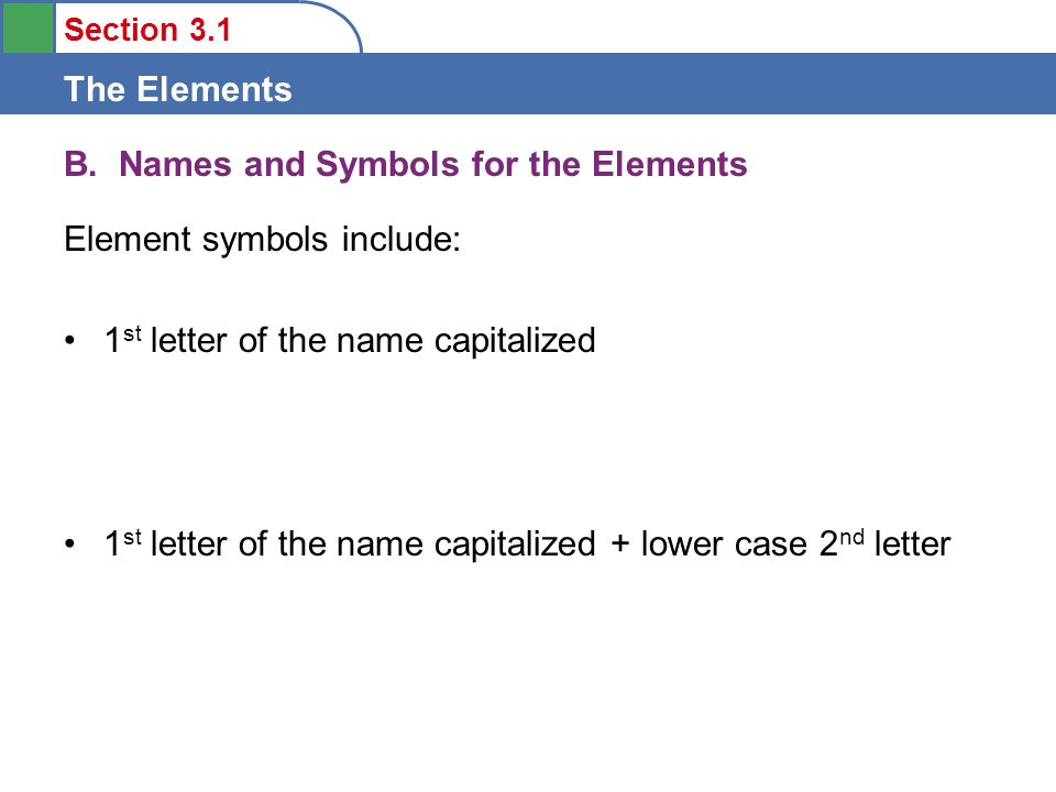 Section 31 The Elements Objectives 1 Learn About The Relative