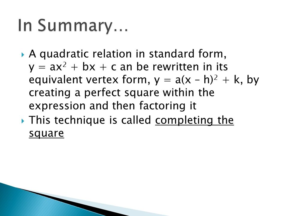 Another method of writing an equation in vertex form is to 8 ccuart Image collections