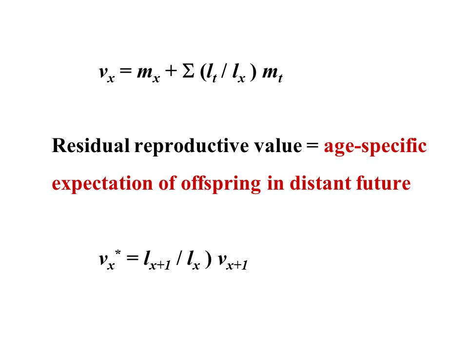 2 V X U003d M X +  (l T / L X ) M T Residual Reproductive Value U003d  Age Specific Expectation Of Offspring In Distant Future V X * U003d L X+1 / L X  ) V X+1