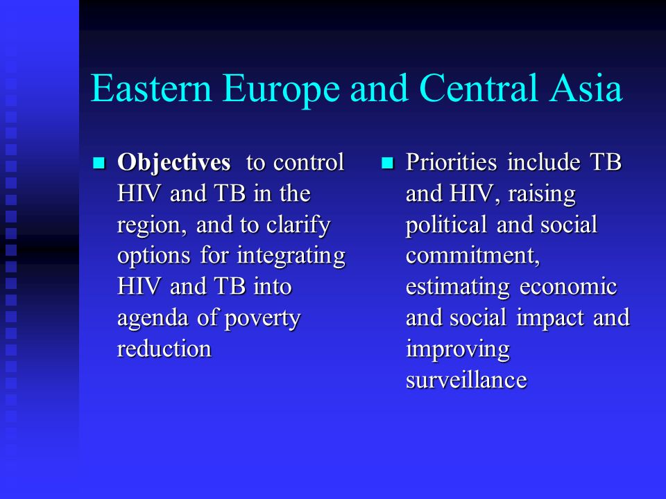 Eastern Europe and Central Asia Objectives to control HIV and TB in the region, and to clarify options for integrating HIV and TB into agenda of poverty reduction Objectives to control HIV and TB in the region, and to clarify options for integrating HIV and TB into agenda of poverty reduction Priorities include TB and HIV, raising political and social commitment, estimating economic and social impact and improving surveillance