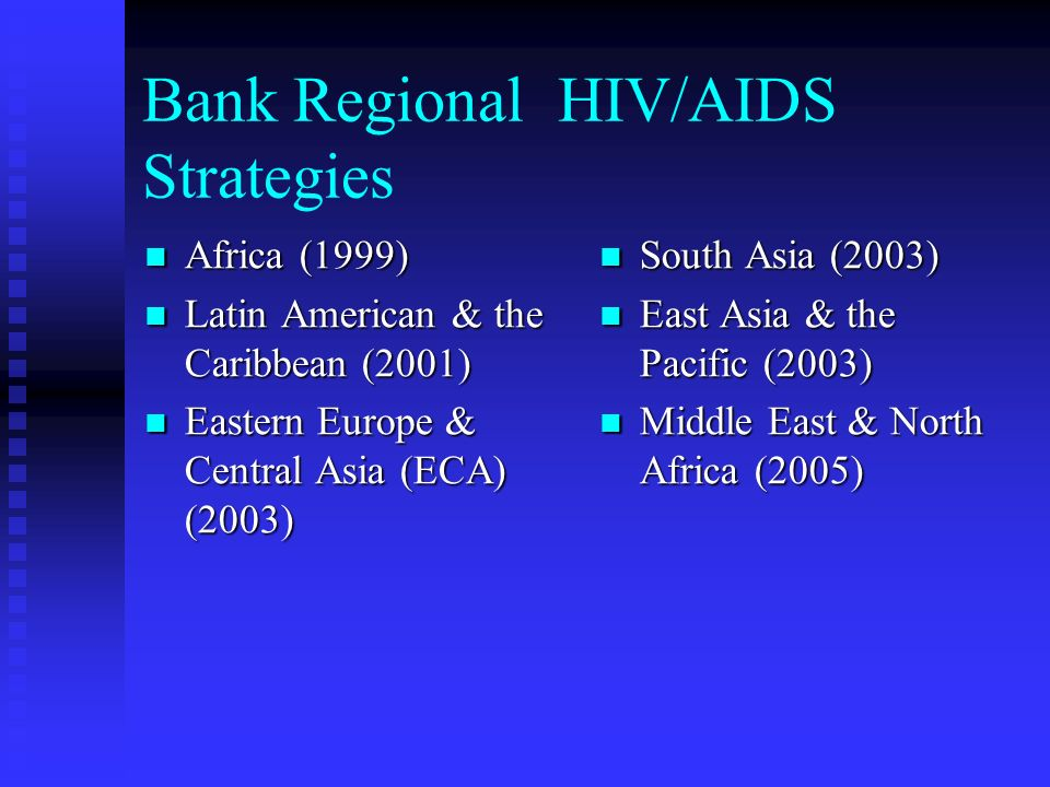 Bank Regional HIV/AIDS Strategies Africa (1999) Africa (1999) Latin American & the Caribbean (2001) Latin American & the Caribbean (2001) Eastern Europe & Central Asia (ECA) (2003) Eastern Europe & Central Asia (ECA) (2003) South Asia (2003) East Asia & the Pacific (2003) Middle East & North Africa (2005)