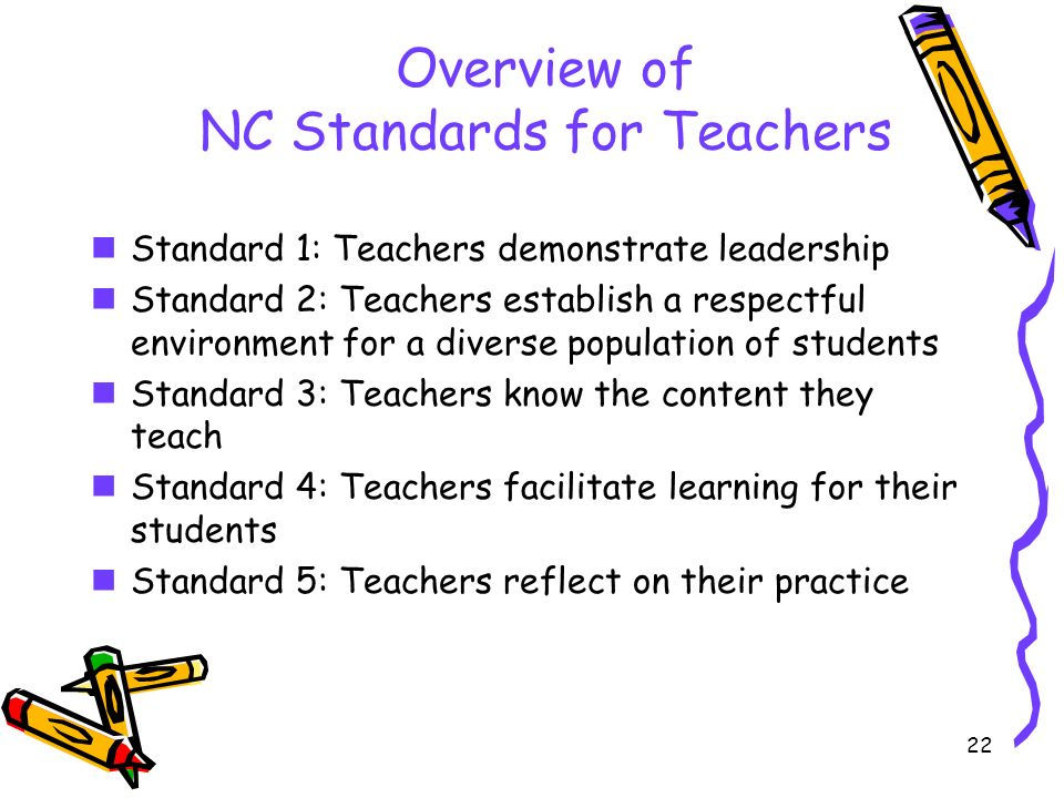 22 Overview of NC Standards for Teachers Standard 1: Teachers demonstrate leadership Standard 2: Teachers establish a respectful environment for a diverse population of students Standard 3: Teachers know the content they teach Standard 4: Teachers facilitate learning for their students Standard 5: Teachers reflect on their practice