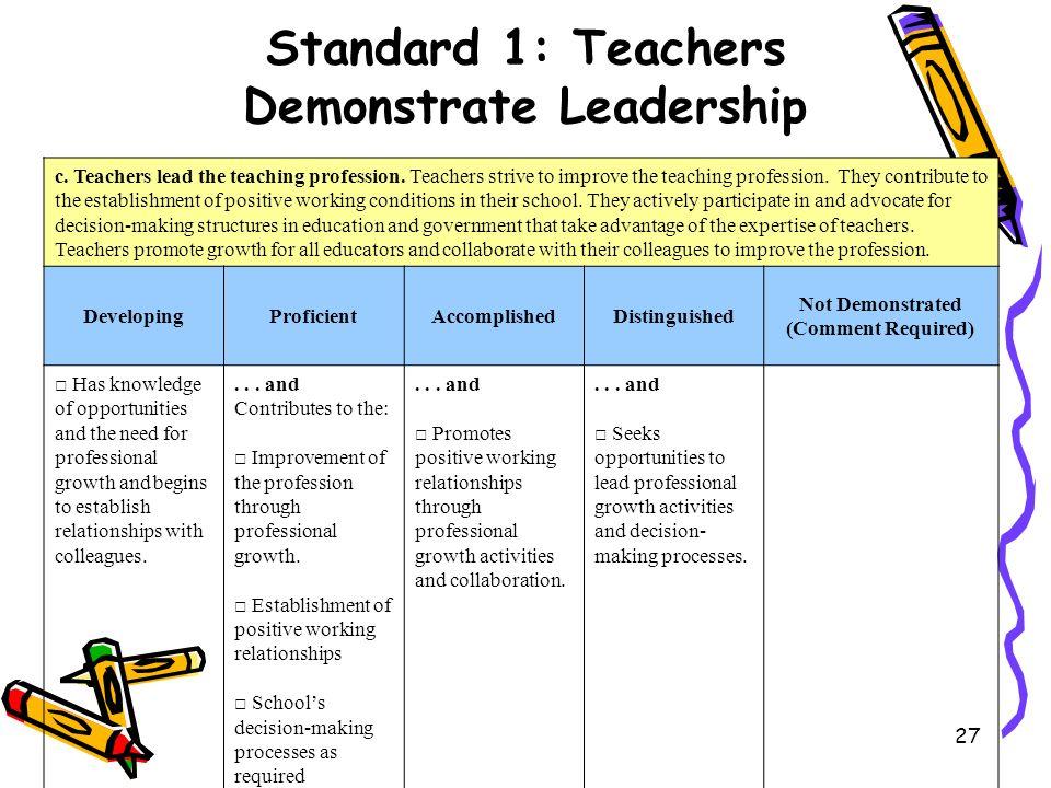 27 c.Teachers lead the teaching profession. Teachers strive to improve the teaching profession.