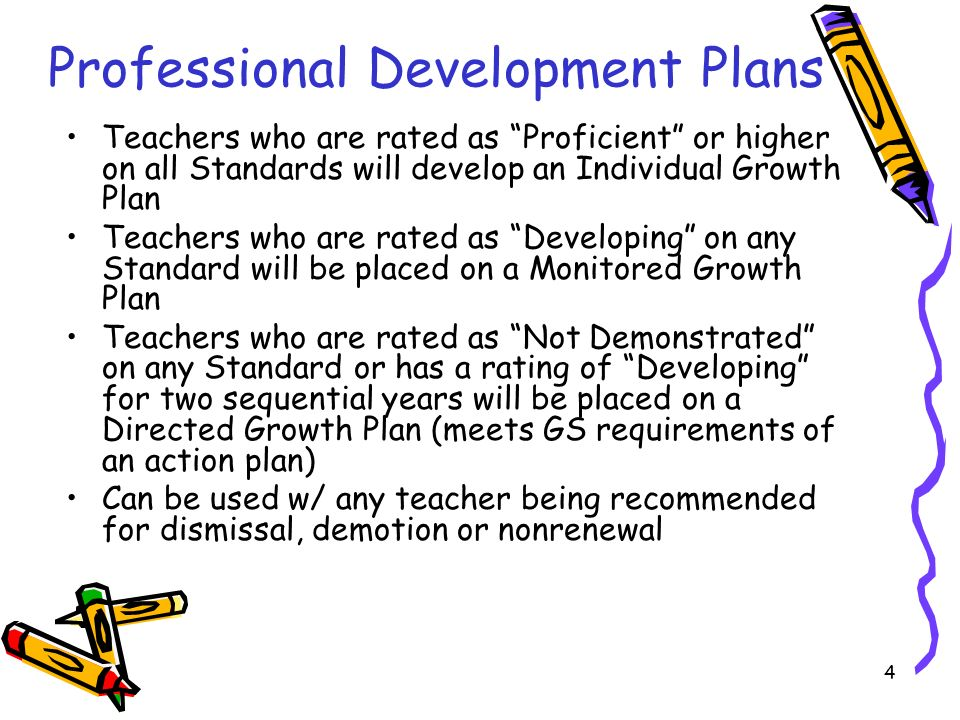 4 Professional Development Plans Teachers who are rated as Proficient or higher on all Standards will develop an Individual Growth Plan Teachers who are rated as Developing on any Standard will be placed on a Monitored Growth Plan Teachers who are rated as Not Demonstrated on any Standard or has a rating of Developing for two sequential years will be placed on a Directed Growth Plan (meets GS requirements of an action plan) Can be used w/ any teacher being recommended for dismissal, demotion or nonrenewal