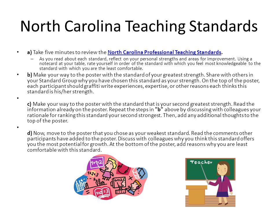 North Carolina Teaching Standards a) Take five minutes to review the North Carolina Professional Teaching Standards.North Carolina Professional Teaching Standards – As you read about each standard, reflect on your personal strengths and areas for improvement.