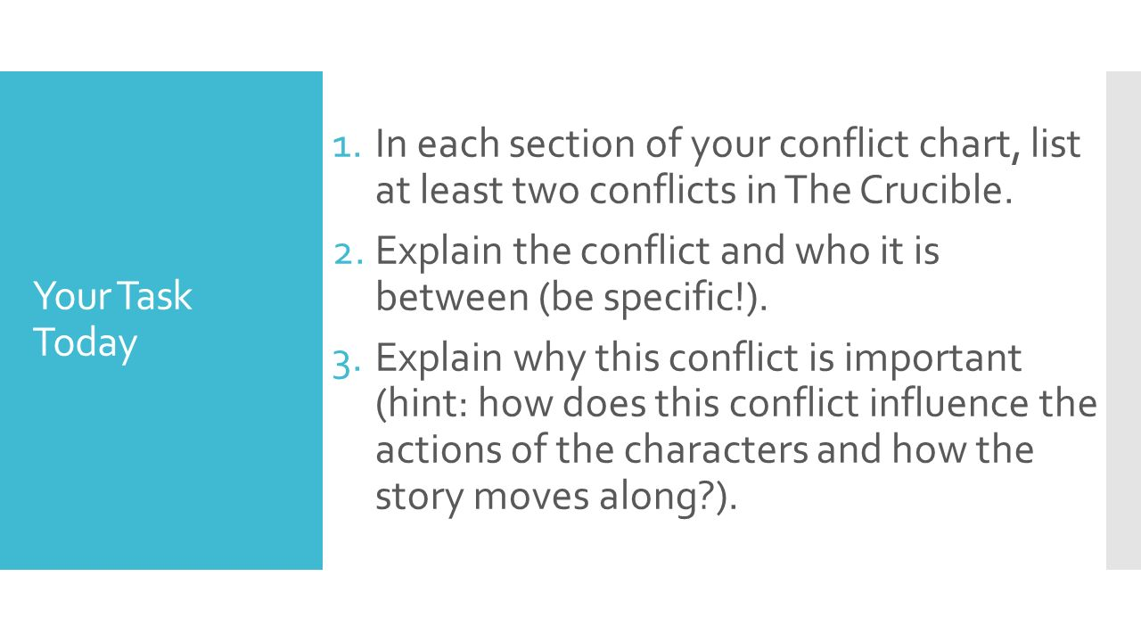 31 4 th 2015 the crucible characterization in each section of your conflict chart list at least