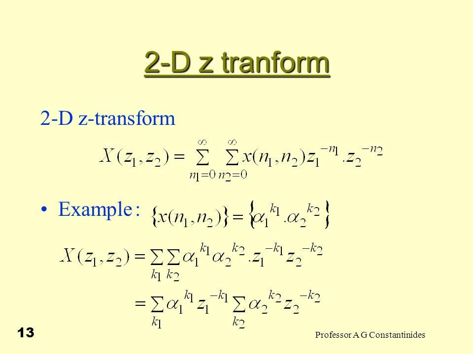 Professor A G Constantinides 13 2-D z tranform 2-D z-transform Example: