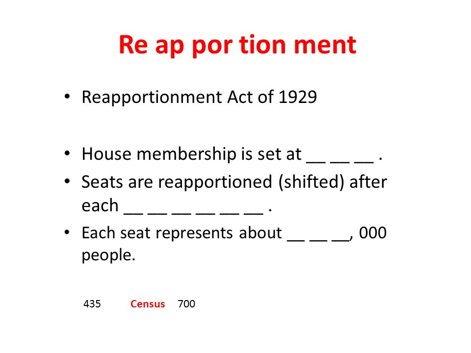 Re ap por tion ment Reapportionment Act of 1929 House membership is set at __ __ __.