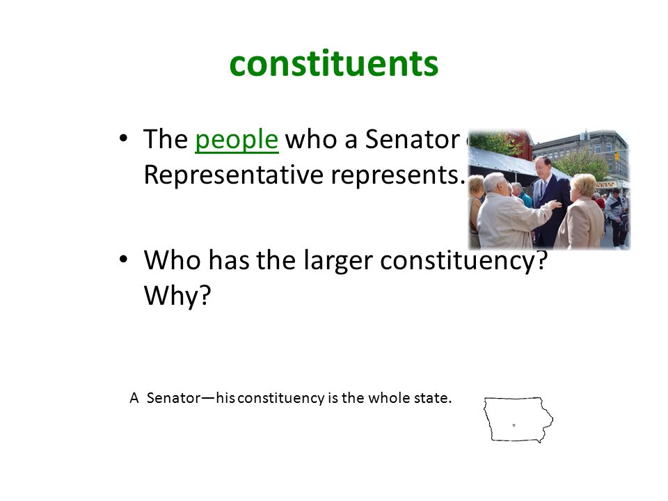 constituents The people who a Senator or Representative represents.
