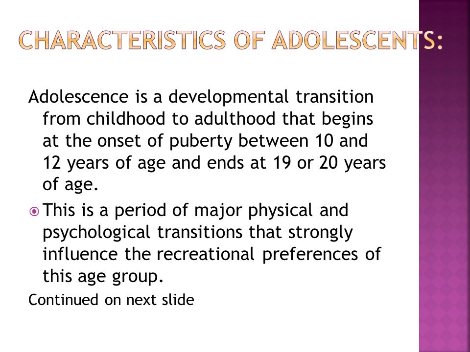 recall of the transformation of childhood to adulthood Development during adolescence - adolescence is the developmental stage between childhood and adulthood it from childhood to adolescence.