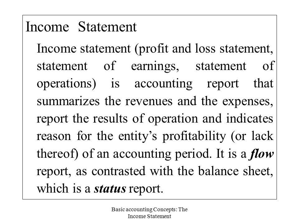 income sheet