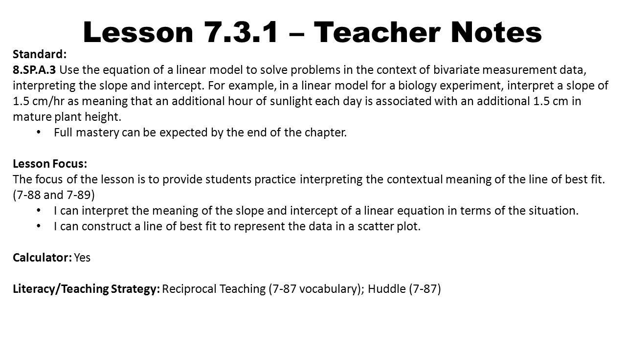 Lesson teacher notes standard 8spa3 use the equation of a 1 lesson falaconquin