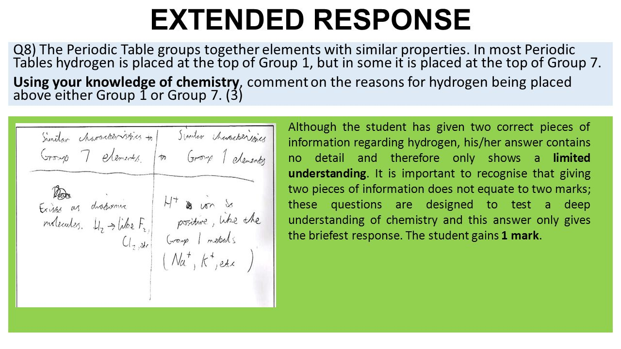17 extended response q8 the periodic table groups together elements - Periodic Table Of Elements Extended