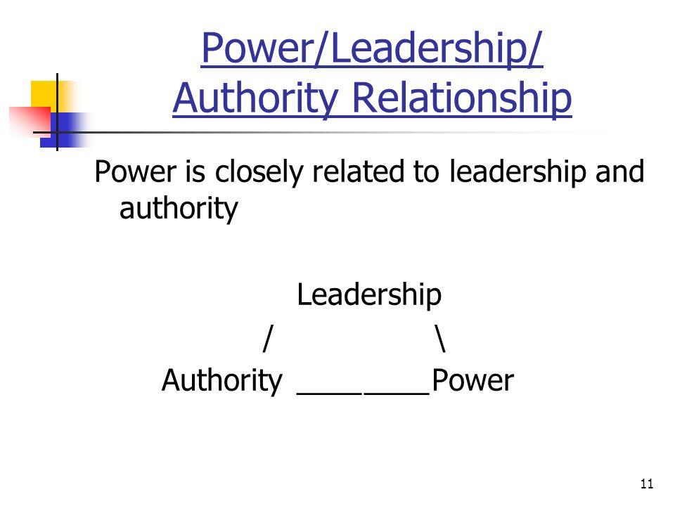 11 Power/Leadership/ Authority Relationship Power is closely related to leadership and authority Leadership / \ Authority________Power